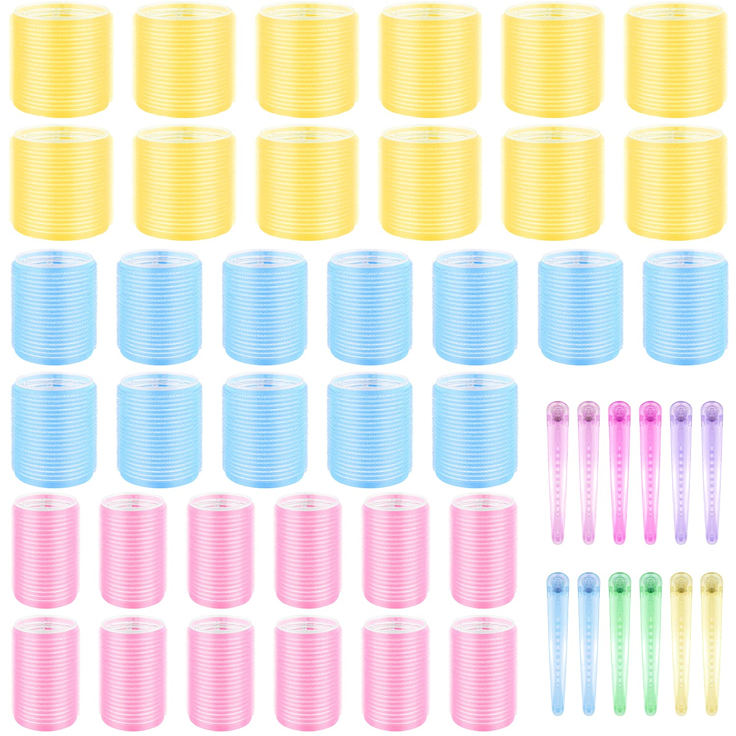 36 Pcs Jumbo Size Max 87% OFF Albuquerque Mall Hair Roller Set Self sets Grip Rollers