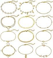 iDIMSON Gold Heart Initial Anklet Bracelet for Women Girls 14k Gold Plated Mariner Chain Letter Anklet with Initials Cute Summer Anklets Gold Anklets Bracelets for Women Girls