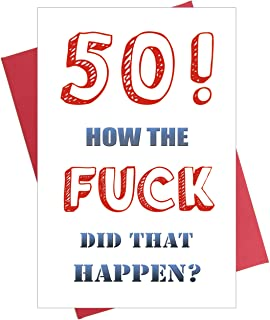 Funny 50th Birthday Card, 50 Birthday Card for Husband Wife Brother Sister Fifty Fiftieth Bday Card
