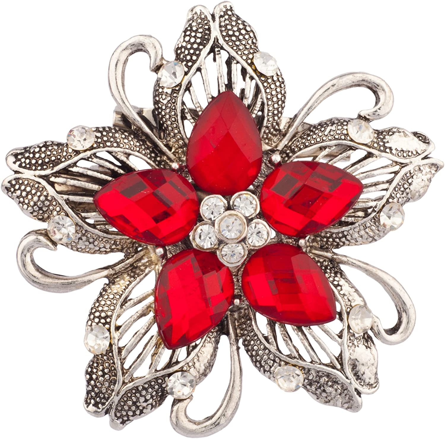 LUX ACCESSORIES Heirloom Limited time sale Stone Daily bargain sale Floral Brooch