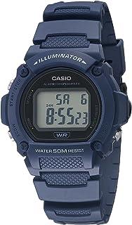 ساعت مچی تناسب اندام Casio Quartz با بند رزین ، آبی ، 25.5 (مدل: W-219H-2AVCF)