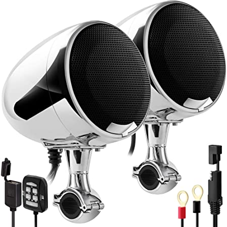 "GoHawk AN4-X Gen.2 All-in-One Built-in Amplifier 4.5"" Full Range Waterproof Bluetooth Motorcycle Stereo Speakers Audio Amp System, 1 to 1-1/4"" Ape-Hanger Handlebar Harley Custom Touring Cruiser Chrome"