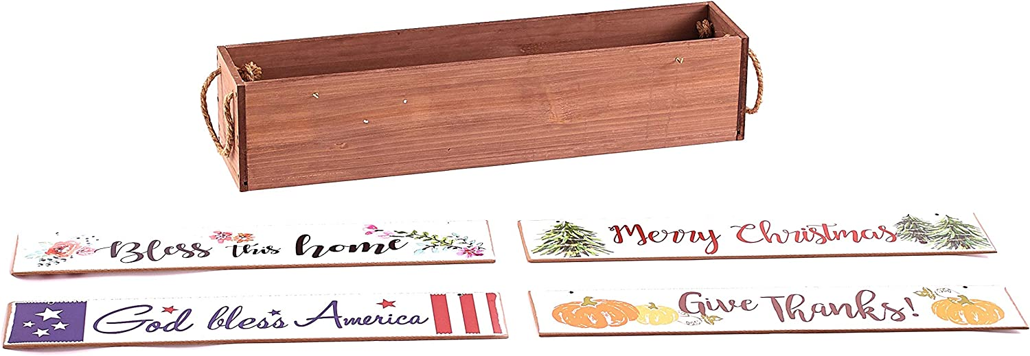 The Lakeside Collection Interchangeable Tabletop Centerpiece with 4 Seasonal Sentiment Messages