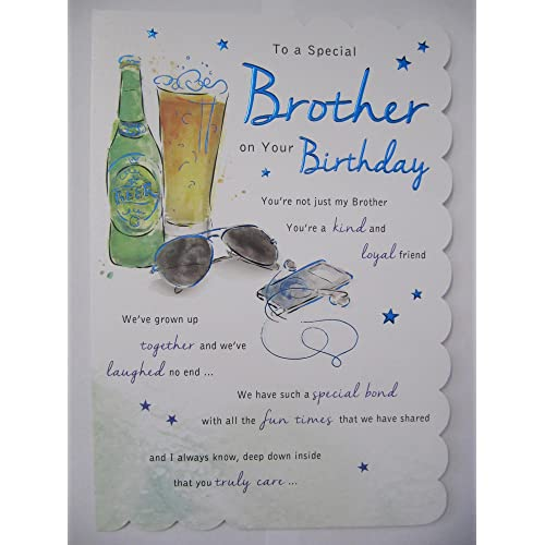 STUNNING TOP RANGE WONDERFULLY WORDED 5 VERSE TO A SPECIAL BROTHER BIRTHDAY CARD