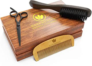 Naturenics Beard Brush, Beard Comb & Beard Scissors- Beard Kit - 100% Firm Boar Bristles - Beard Grooming Kit Works With All Beard Oils & Beard Balms- Helps with Beard Growth, Styling & Conditioning