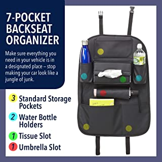 Back Car Seat Organizer – 7 Pocket Backseat Storage Unit for Phone, Umbrella, Tissue Box, Toys, Water Bottles and More – Keeps Car Clean and Tidy - PU Leather