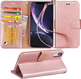 Arae Wallet Case Designed for iPhone xr 2018 PU Leather flip case Cover [Stand Feature] with Wrist Strap and [4-Slots] ID&Credit Cards Pocket for iPhone Xr 6.1 inch - Rose Gold