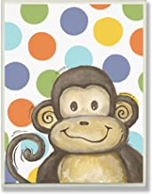 The Kids Room by Stupell Lil Buddy Monkey With Polka Dots Rectangle Wall Plaque, 11 x 0.5 x 15, Proudly Made in USA