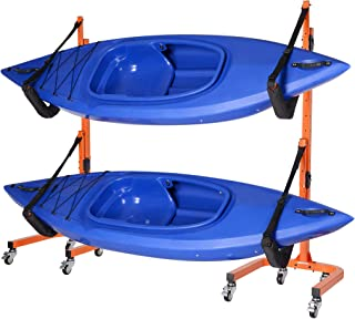 RAD Sportz Rolling Kayaks Rack Storage- Self Standing Two Kayaks Cradles with Adjustable Safety Straps and Wheels for Mobility- Indoor Outdoor use