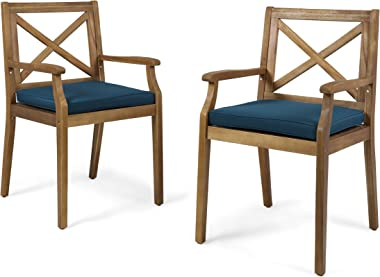 Christopher Knight Home 304682 Peter   Outdoor Acacia Wood Dining Chair Set of 2, Teak/Blue Cushion