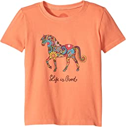 Life is Good Kids - Flower Swirl Horse Crusher Tee (Toddler)