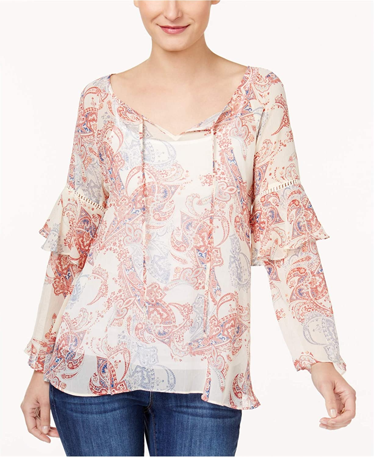 Style & Co. Womens Sheer PaisleyPrint Peasant Blouse