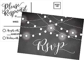 50 Blank Chalkboard RSVP Cards, RSVP Postcards No Envelopes Needed, Response Card, RSVP Reply, RSVP kit for Wedding, Rehearsal, Baby Bridal Shower, Birthday, Plain Bachelorette Party Invitations