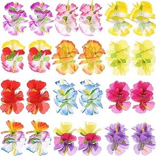 Hestya 24 Pieces Hibiscus Flower Hair Clips 12 Hawaiian Island Rainforest Party Theme Hair Accessories for Wedding Beach Birthday Party Supplies