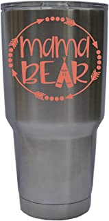 Mama Bear with Arrows and Teepee Vinyl Decal Sticker, Premium Matte & Glossy Vinyl, Many Colors to Choose from, Decal ONLY, YETI, W 3.9