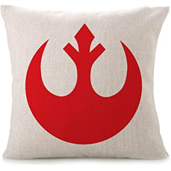 Bayyon Decorative Throw Pillow Covers Cotton Linen Cushion Star Wars Fans Covers 18 x 18 inch (Rebel Alliance)