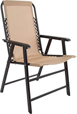 Suspension Folding Chair for Indoor/Outdoor Use- Portable Armchair with Durable Frame for Sport Events, Patio, Beach and More by Pure Garden (Beige)