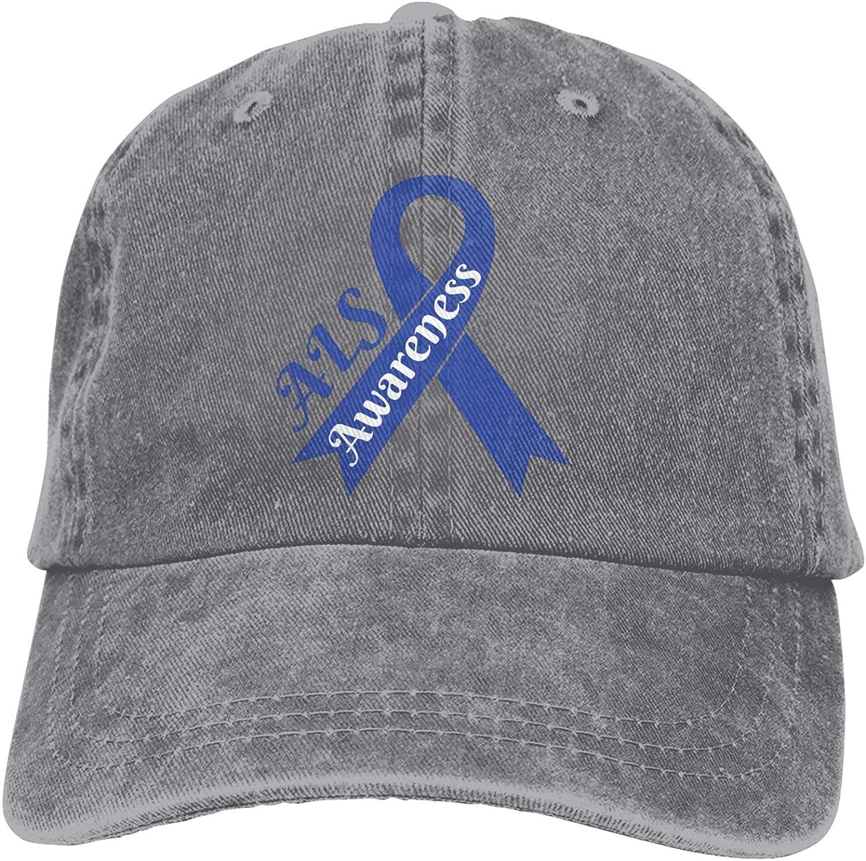 smani ALS Awareness Outdoor Men's Baseball Cap Sports and Leisure Adjustable Cowboy Hat Performance Cap Gray