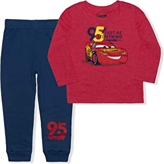 Disney Lightning Mc Queen Jogger Set for Boys, Toddlers' Long Sleeve Tee and Jog Pants