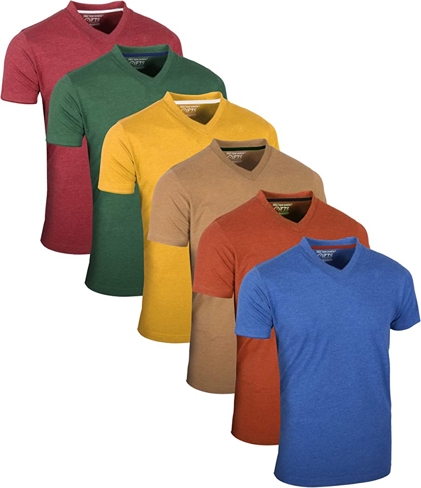 Tech 4 6 Pack einfarbige langärmlige Kurzarm Top V-Ausschnitt Herren T-Shirts