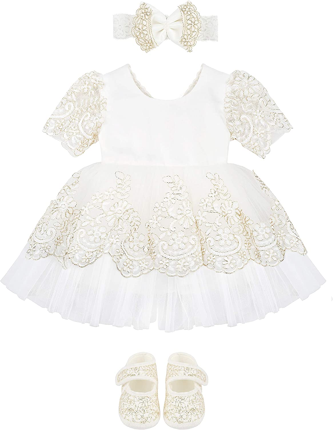 Lilax Baby Girl Lace Princess Wedding Party Short Sleeve Dress Gown 4 Piece Deluxe Set