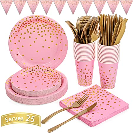 Hot Pink Party Tableware Supplies Set 70-Counts Include Disposable Paper Napkins Cups Plates Fork Dinnerware Set for Girl Birthday Party Wedding Baby Bridal Shower Rainbow Party Valentines Day