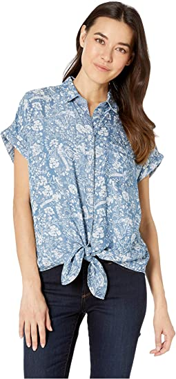 Printed Lyocell Denim Reversible Shirt w/ Knot Detail