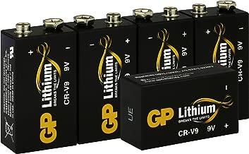 GP Lithium 9 Volt Block Batterien, 9V E-Block, 10 Jahres Batterie Longlife (5 Stück Blockbatterien) ideal für z.B. Rauchmelder, Feuermelder, Mikrofone etc.