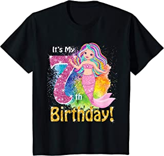 Kids It's My 7th Birthday Mermaid Shirt (7 Year Old Girls) Gift