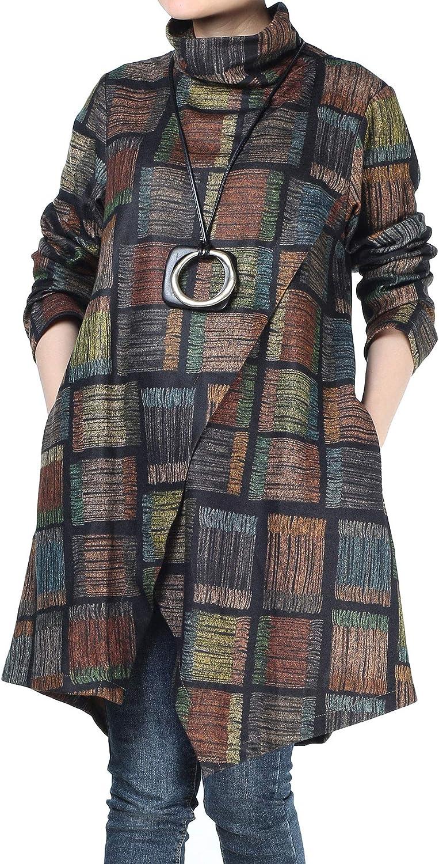 Selling rankings Minibee Women's Max 72% OFF Checked Plaid Tunic Tu Asymmetry Winter Tops Hem