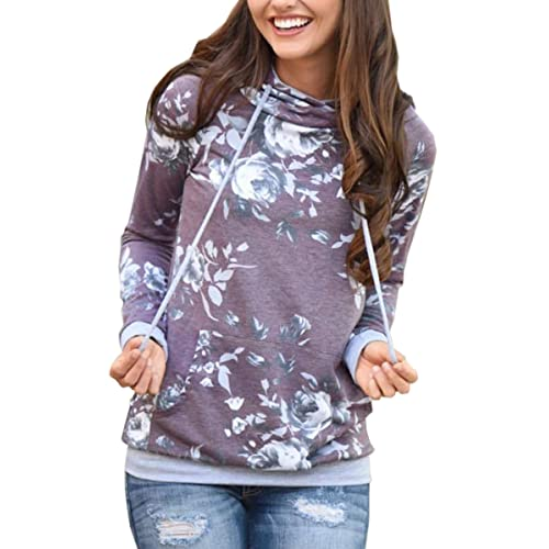 d235f8d9 Angashion Women Hoodies-Tops- Floral Printed Long Sleeve Pocket Drawstring  Sweatshirt with Pocket