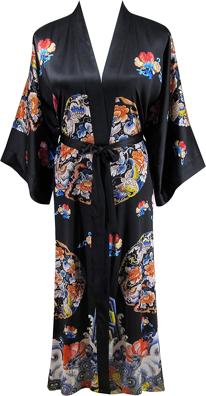 Ledamon Women's 100% Silk Kimono Long Robe  Classic colors and Prints