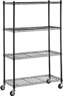 AmazonBasics 4-Shelf Shelving Storage Unit on 3'' Wheel Casters, Metal Organizer Wire Rack, Black (36L x 14W x 57.75H)