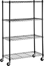 AmazonBasics 4-Shelf Shelving Storage Unit on 3'' Wheel Casters, Metal Organizer Wire Rack, Black