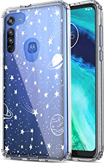 RANZ Moto G8 Case, Anti-Scratch Shockproof Series Clear Hard PC+ TPU Bumper Protective Cover Case for Motorola Moto G8 - Universe