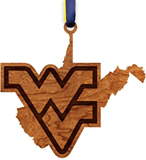 West Virginia Mountaineers Wooden Ornament - State Map with Logo