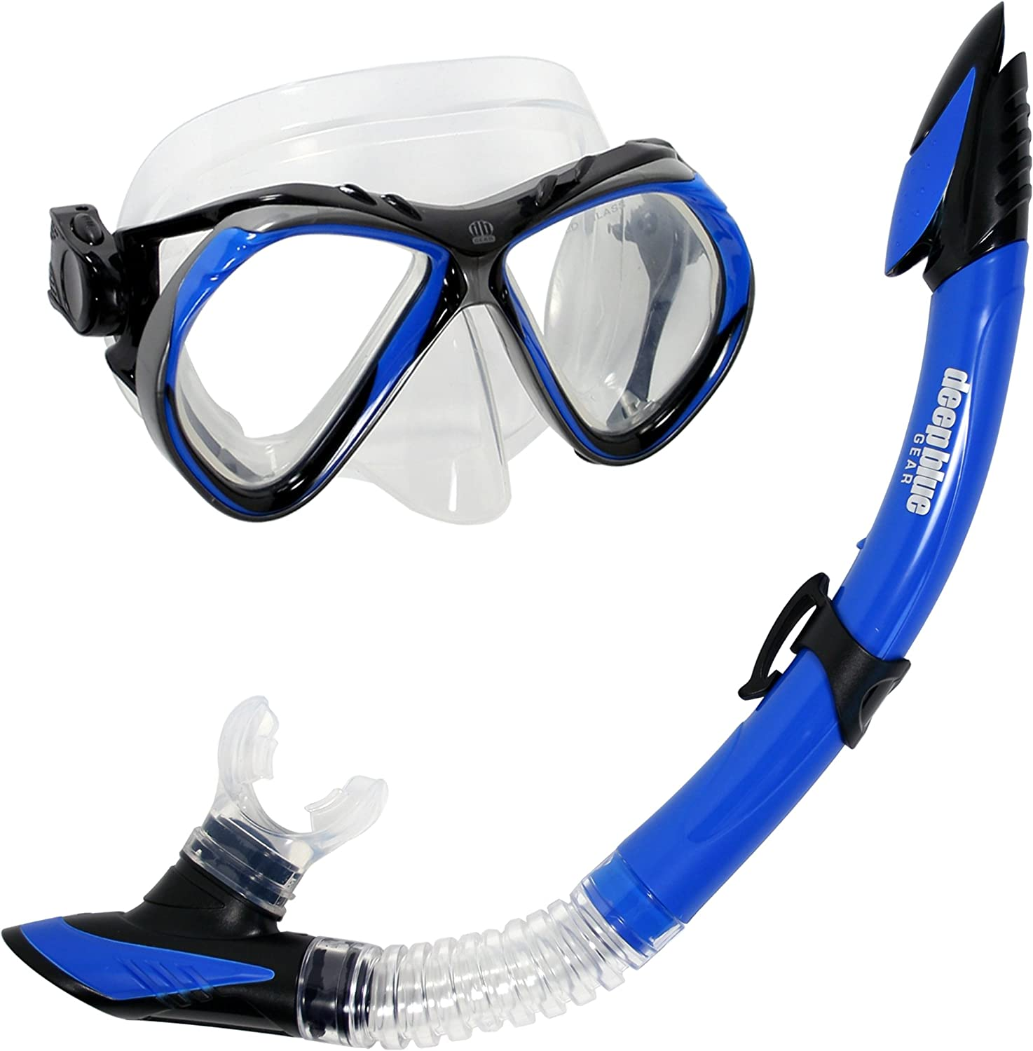 Deep blueee Gear Del Sol 2 Diving Mask and Semi-Dry Snorkel Set