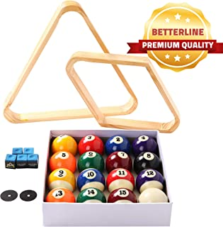 BETTERLINE Billiard Balls Set, Pool Table Triangle Ball Rack and 9-Ball Diamond Rack (Wood), 5 Cue Chalks and 2 Table Spot...