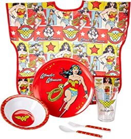 DC Comics Wonder Woman Five-Piece Melamine Set w/ Bib