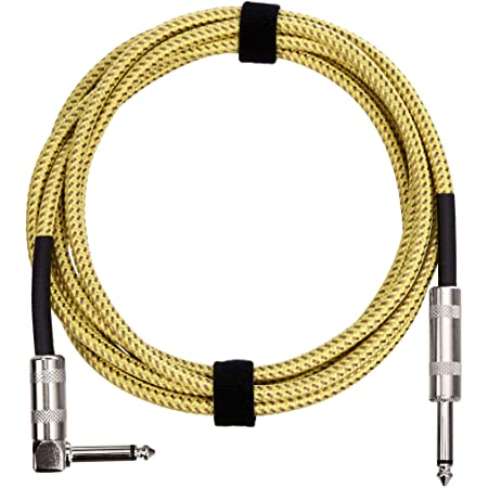 Amazon Basics 1/4 Inch Tweed Cloth Jacket Right-Angle Instrument Cable - 20 Foot (Yellow & Brown)