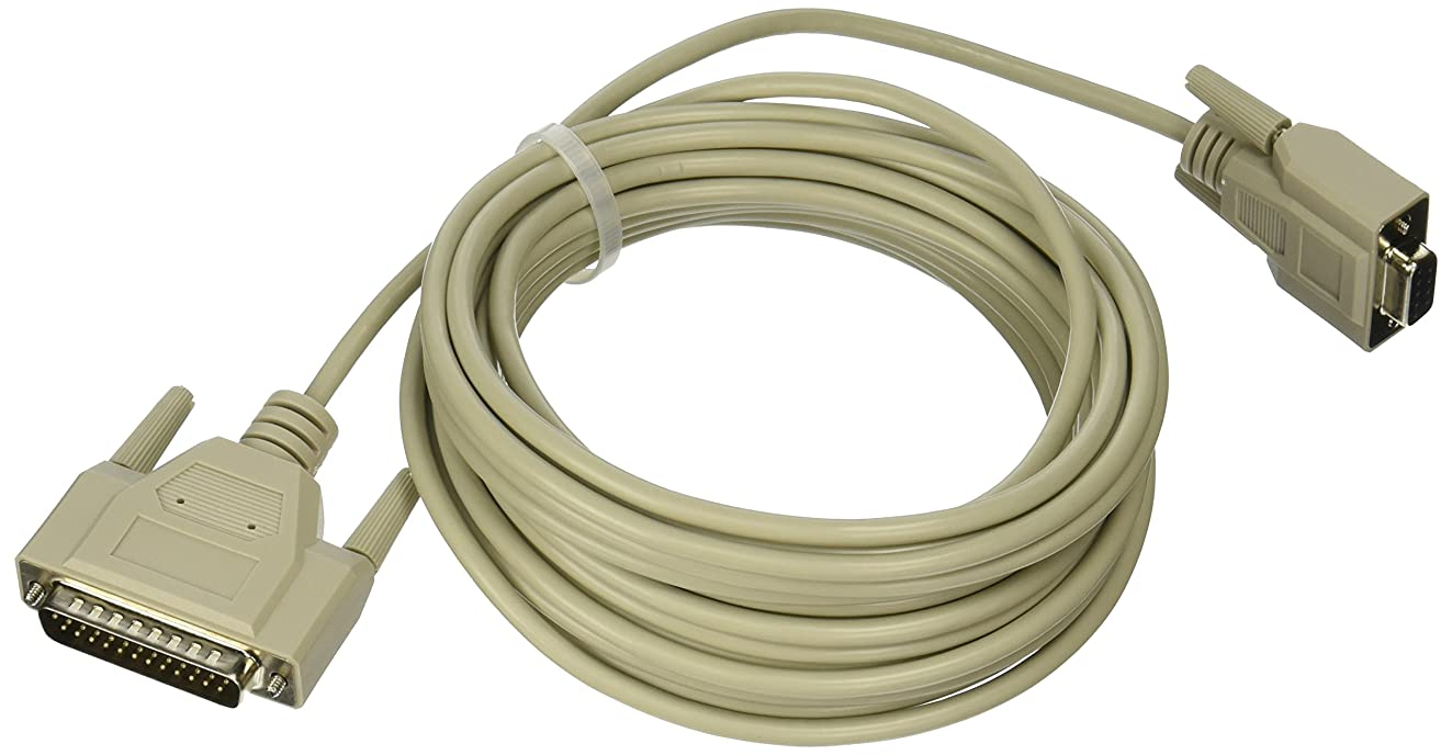 C2G 09445 DB9 Female to DB25 Male Serial RS232 Modem Cable, Beige (25 Feet, 7.62 Meters)