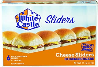 White Castle Cheese Sliders, 100% Beef, American Cheeseburger, 6 Count, Microwaveable (Frozen)