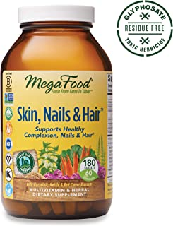 MegaFood, Skin, Nails & Hair, Supports Healthy Complexion, Nails & Hair, Multivitamin & Herbal Dietary Supplement, Gluten Free, Vegan, 180 Tablets (60 Servings) (FFP)