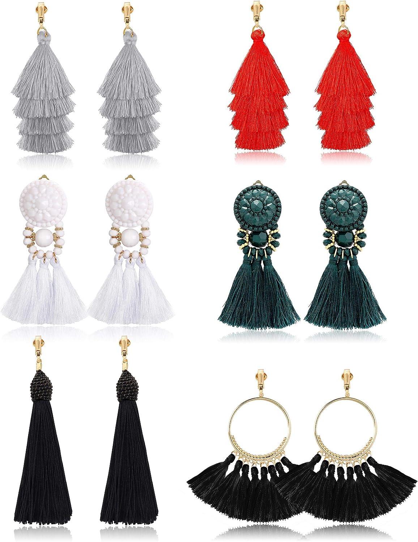 Udalyn 6 Pairs Tassel Earrings for Women Dangle Clip On Earrings Colorful Long Layered Tassel Earrings Statement Tiered Thread Tassel Dangle Earrings Bohemian
