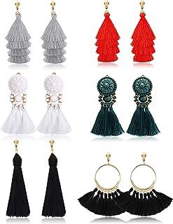Udalyn 6 pares de pendientes de borla para mujer, pendientes colgantes de clip, coloridos y largos en capas de borla de hi...
