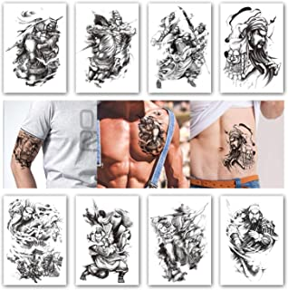 Kotbs 8 Sheets Temporary Tattoos for Men Boys Game of the Three Kingdoms Thrones Roles Waterproof Tattoo Stickers Body Art Arm Fake Tatoo