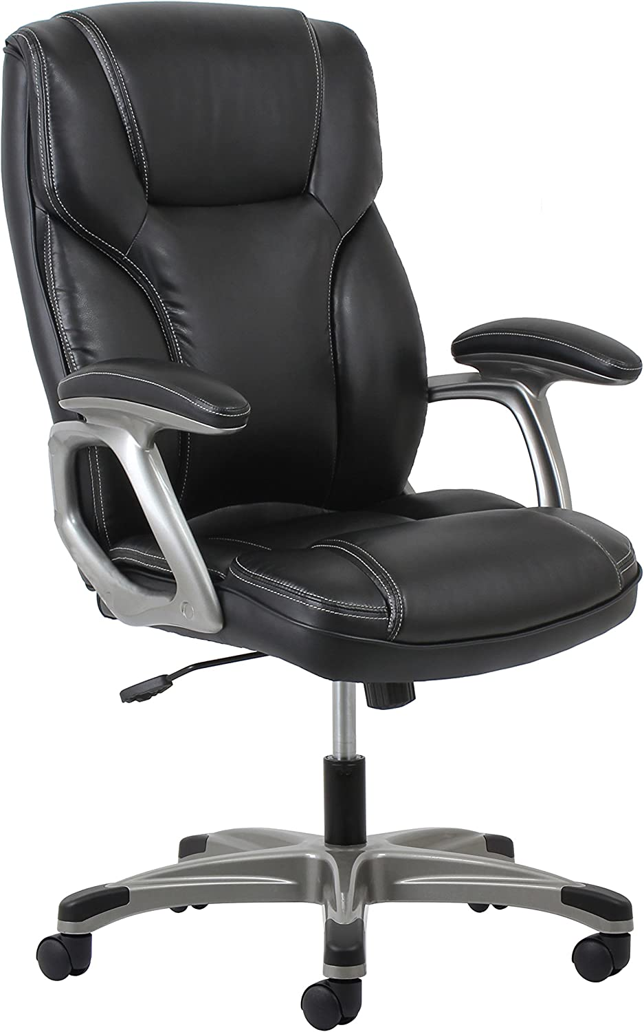 Essentials High-Back Leather Executive Office Computer Chair with Arms - Ergonomic Swivel Chair (ESS-6030-BLK)