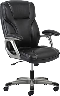 Essentials High-Back Leather Executive Office/Computer Chair with Arms - Ergonomic Swivel Chair (ESS-6030-BLK)