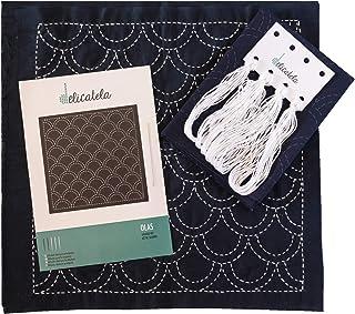 Sashiko | Japanisches Stickerei-Set | Stoff 68cm x 34cm vorbedruckt 30cm x 30cm | Spezialgarn für Sashiko | lange Nadel | Stickanleitung | Delicatela Indigo Wellen