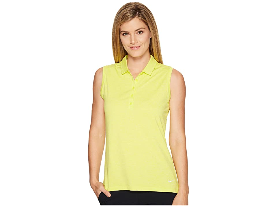 Nike Golf Sleeveless Heather Polo (Electrolime/Heather/White) Women
